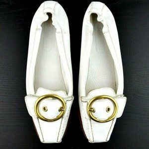 Coach Nellie 7.5 White Pebbled Leather Loafers